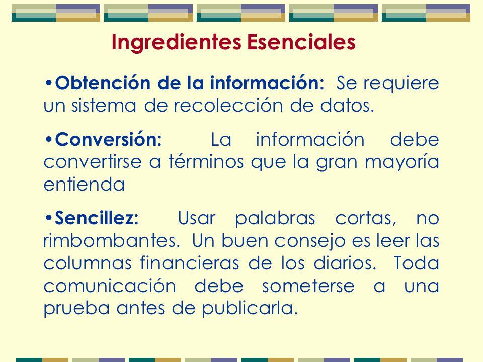 Ingredientes Esenciales Obtención de la información: Se requiere un sistema de recolección de datos.