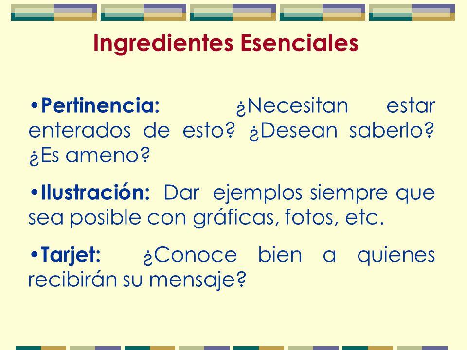 Ingredientes Esenciales Pertinencia: ¿Necesitan estar enterados de esto.