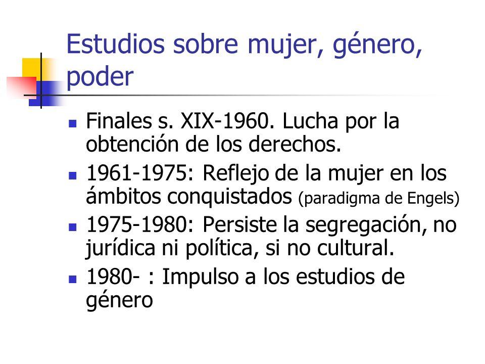 Impulso a los estudios de género Peso de la mujer en la PEA (1987 eran el 33.7% ocupadas, 56% fza.