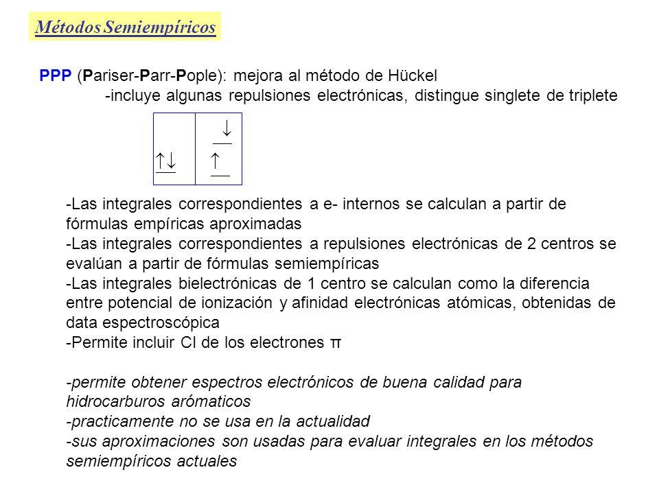 Métodos Semiempíricos CNDO (Complete Neglect of Differencial Overlap) -Usa base mínima de OA de valencia STO con exponentes orbitales fijos -Desprecia las integrales de solapamiento (Todas) -Retiene solamente las integrales de repulsión bielectrónicas de 1 y 2 centros -Considera que las integrales de repulsión electrónicas sólo dependen de en qué átomos están centrados los orbitales Todas las de un centro sobre el mismo átomo A tiene = valor Todas las de 2 centros sobre los mismos átomos A y B tienen = valor -Las interacciones de atracción entre e- en el átomo A y el núcleo B, este se modela como una carga puntual de carga = coreB (sobreestima interacciones de 2 fragmentos ) CNDO/1: Parametrización original CNDO/2: Mejora de la parametrización original CNDO/S: Reparametrización para reproducir mejor los espectros electrónicos, peores geometrías INDO (Intermediate Neglect of Differencial Overlap) -Similar al CNDO pero considera algunas integrales más -Desprecia los términos de solapamiento de 1 centros en las de 2 ó más centros pero los retiene en las de 1 centro -resulatdos cualitativos, actualmente en desuso INDO INDO/S MINDO/2 MINDO/S
