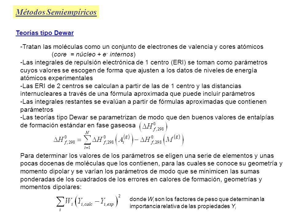 MINDO/3 (Primera teoría tipo Dewar de utilidad) Métodos Semiempíricos Parametrizada para C, H, O, N, B, F, Cl, Si, P y S usando compuestos formados por C, H, O, N Se obtienen errores promedio de: 11 kcal/mol en calores de formación 0.022 Å en longitudes de enlace 5.6 o en ángulos de enlace 0.49 D en momentos dipolares 0.7 eV en energías de ionización Grandes errores en: calores de formación de compuestos con anillos pequeños compuestos con triple enlace, aromáticos, compuestos de Boro y moléculas con átomos con pares libres Basada en la aproximación INDO No cumplió las expectativas