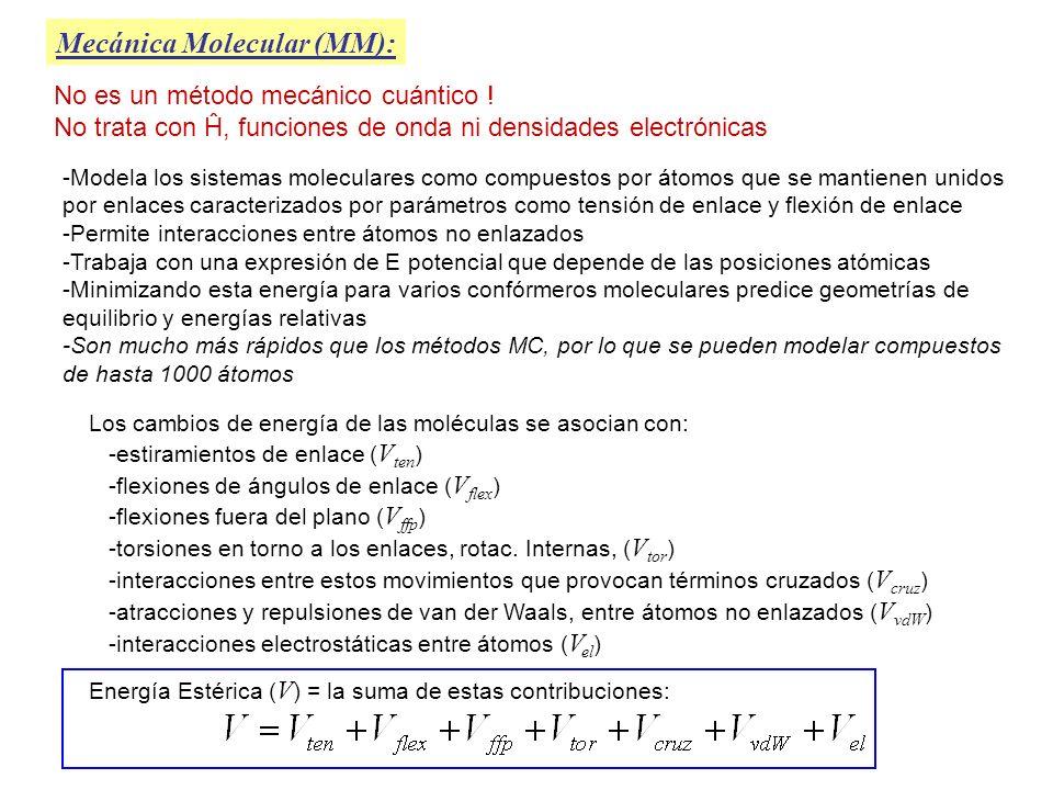 Mecánica Molecular (MM): Las expresiones utilizadas para c/u de los términos en: definen lo que se conoce como campo de fuerzas (CF) en MM Un campo de fuerzas contiene expresiones analíticas para c/ término + los valores de todos los parámetros que intervengan en ellas Un CF asigna a c/átomo un número de posibles tipos de átomo dependiendo del # atómico y el entorno molecular Ejemplos (Carbono) : - C sp 3 (Hidrógeno) : - H unido a C - C sp 2 - H unido a O - C sp - H unido a N - C carbonilo - C aromático En MM además de las cordenadas de c/ átomo hay que especificar qué átomos están enlazados entre sí Terminología: 1,2 átomos enlazados 1,3 át separados por 2 enlaces 1,4 át sep.