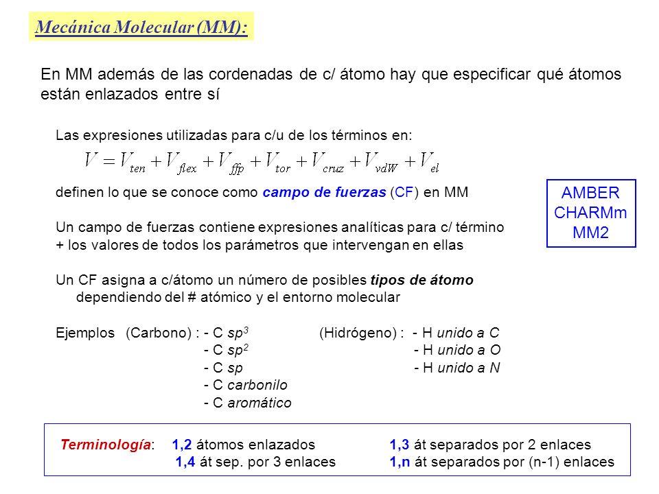 Tensión ( V ten ) Mecánica Molecular (MM): Se calcula como la suma de las V ten asociadas a cada par de átomos enlazados en el sistema molecular: Cada término de la puede calcularse según dif.