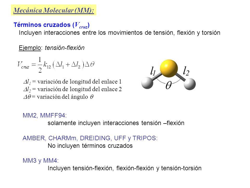 Mecánica Molecular (MM): Interacciones electrostáticas ( V el ) En general se toma como la suma de las interacciones electrostáticas de todos los pares de átomos, excepto pares 1,2 y 1,3 Y para calcular cada V el, ij se asignan cargas atómicas parciales ( Q ) a los átomos y luego se emplea la expresión de Coulomb: = cte.