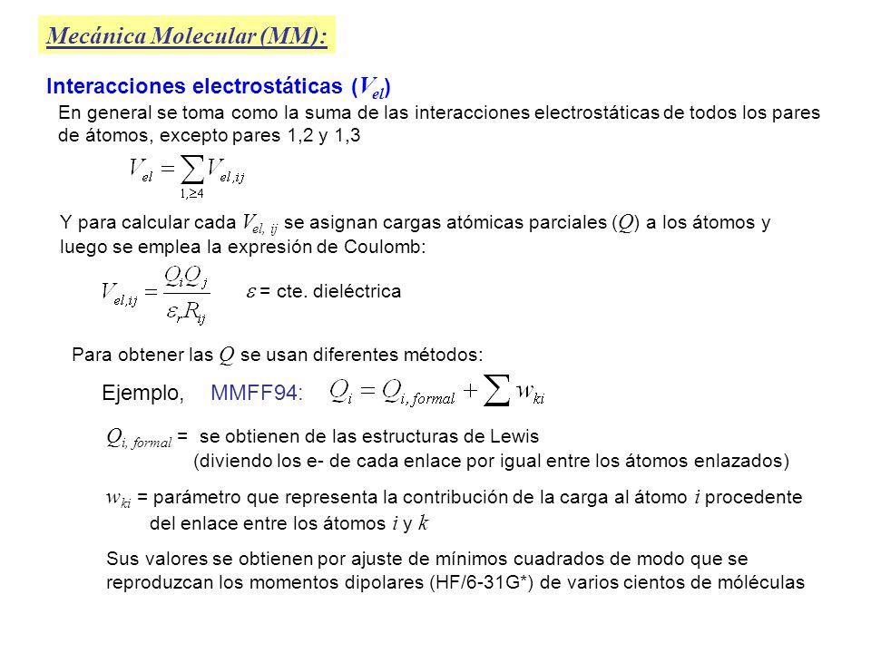 Mecánica Molecular (MM): Interacciones de van der Waals ( V vdW ) Conocidas también como interacciones no enlazantes El término V vdW se toma como la suma de las interacciones entre todos los pares de átomos 1,4; 1,5; 1,6 ….