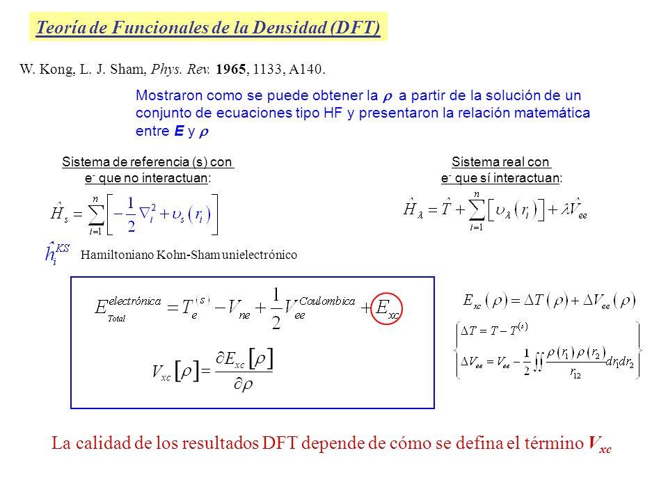 Teoría de Funcionales de la Densidad (DFT) Generalized Gradient Approximation (GGA) Toma en cuenta la densidad electrónica y su gradiente (variación de la densidad con la posición.