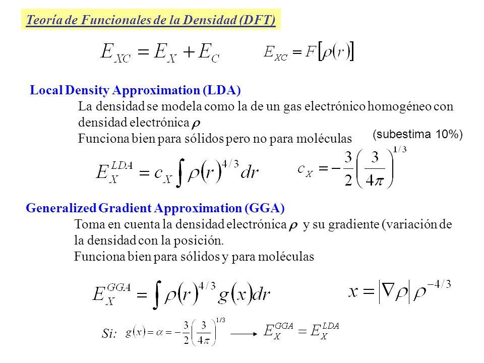 Funcionales de Intercambio, E x : -Slater (LSDA): coeficiente teórico, Local, (< 10%) -Xa: coeficiente empírico, se usa cuando no se incluye E c, Local -Becke88: Local + correcciones que incluyen gradiente -Perdew-Wang 91: incluye gradiente, mejora a Becke88 para límites de pequeñas y grandes x -Barone: Modificación de PW91, gradiente (diferentes valores de los parámetros) -Gill96: Incluye gradiente