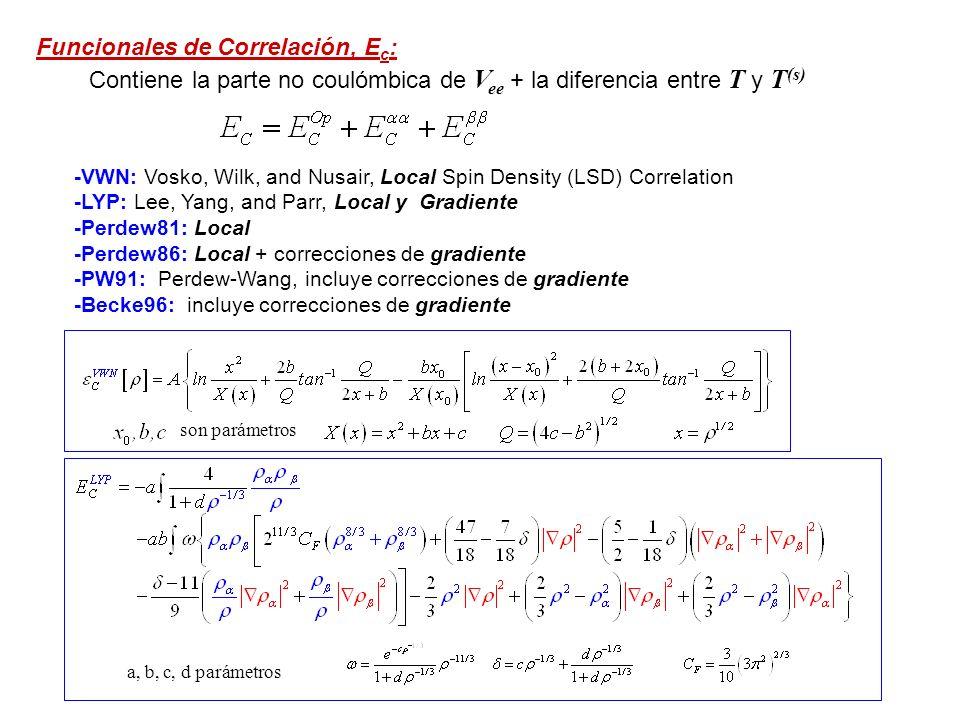 Funcionales más comunes: B3LYP: Funcional Híbrido A, B y C son parámetros obtenidos empíricamente de modo que los resultados ajusten 56 energies de atomización, 42 potenciales de ionización, 8 afinidades protónicas, y 10 energías atómicas correspondientes a elementos de la 1ra fila A=0.80, B=0.72 y C=0.81 B3P86: Funcional Híbrido A, B y C = B3LYP, la E c no-local correspondiente a Perdew86 B3PW91: Funcional Híbrido A, B y C = B3LYP, la E c no-local correspondiente a Perdew-Wang 91