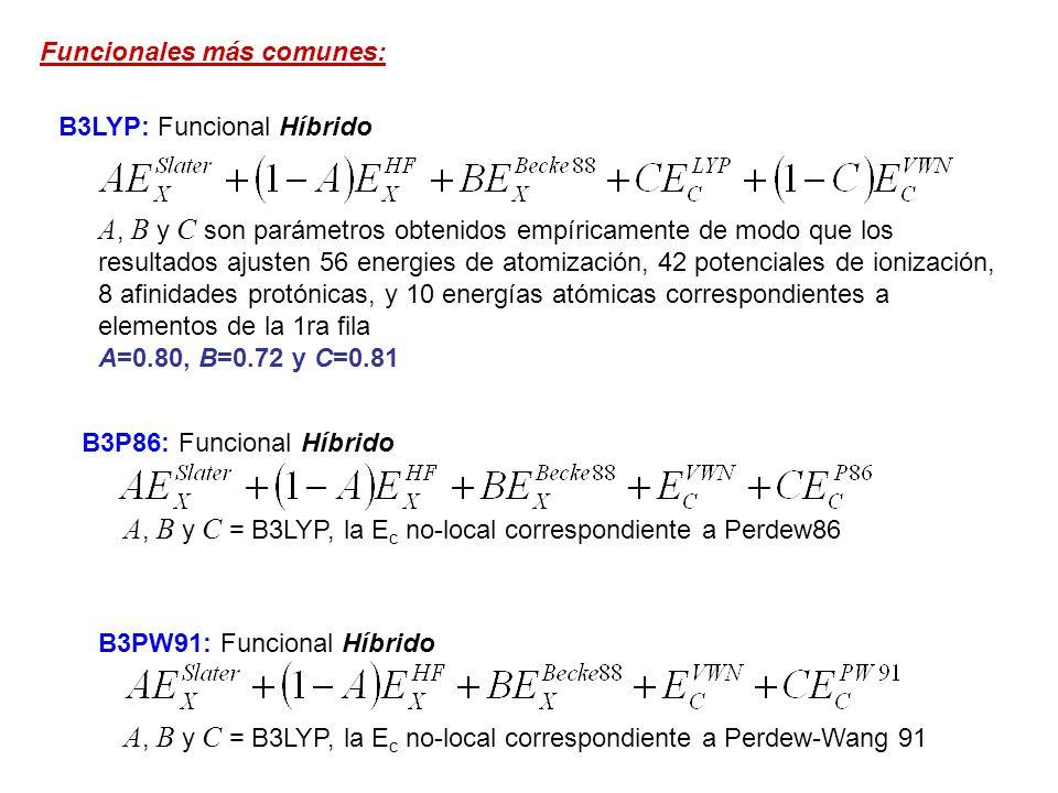 B1B96: Funcional Híbrido, de un solo parámetro c op = 0.0031 c = c = 0.038 Funcionales más comunes: BHandHLYP: Funcional Híbrido, Funcionales definidos por el usuario: