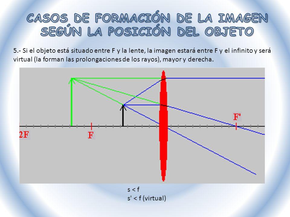 Lentes divergentes Sea cual sea la posición del objeto frente a la lente la imagen siempre será virtual, menor y derecha.