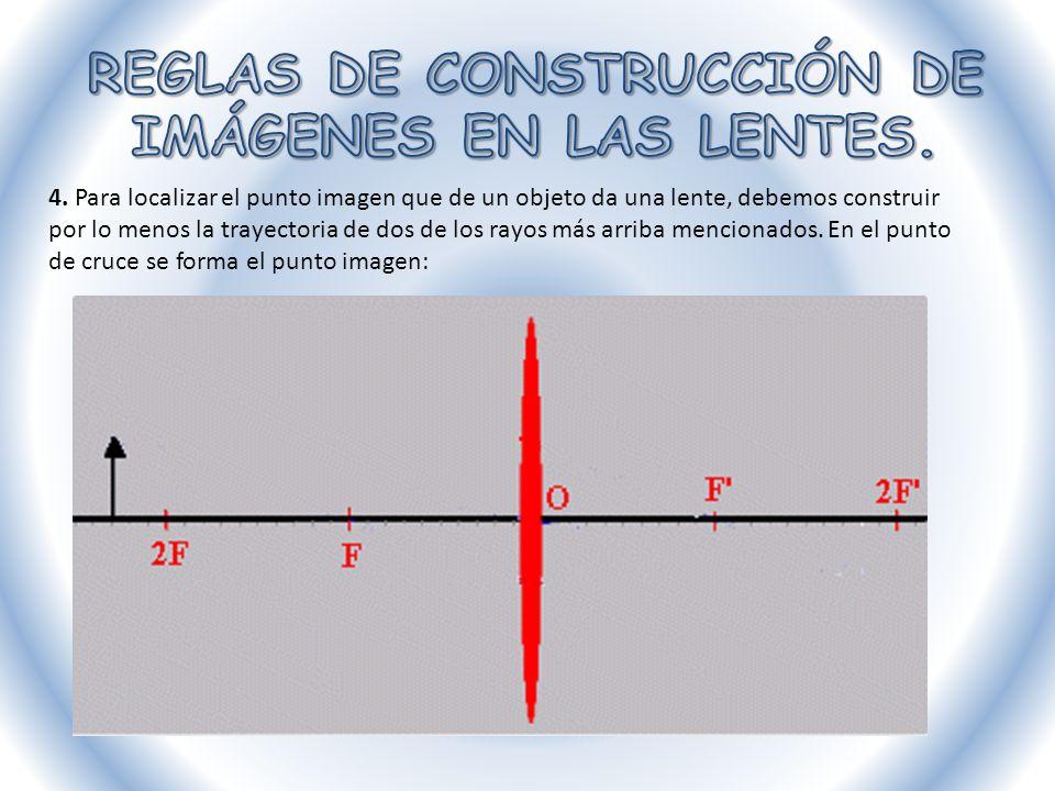 Lentes convergentes De cada uno de los puntos del objeto salen miles de rayos que llevan la información del objeto y se concentran en un punto donde se forma su imagen.