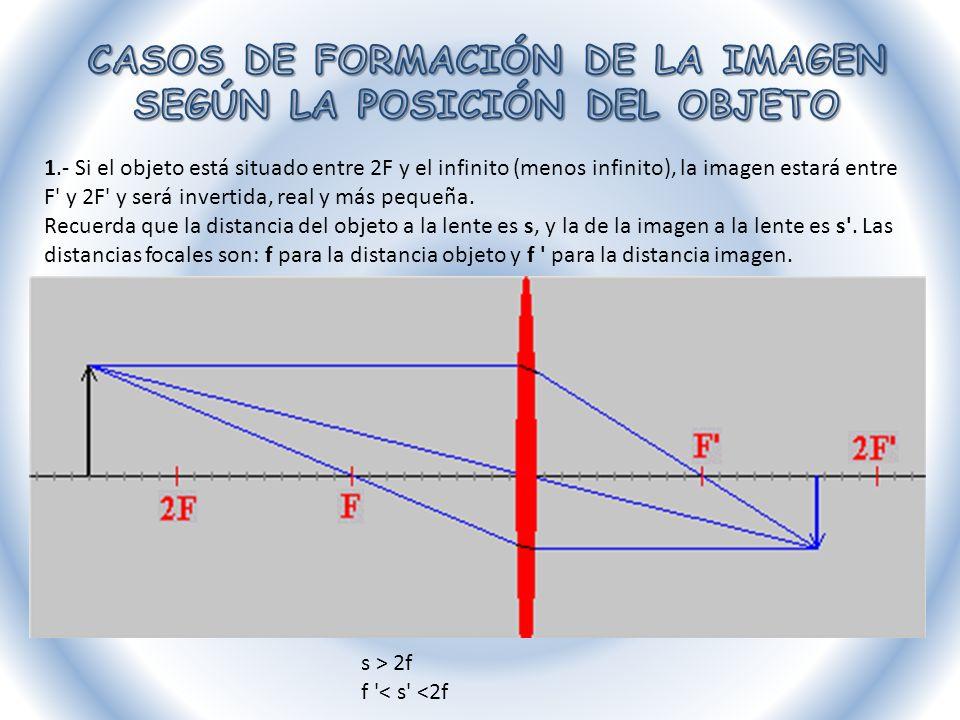 2.- Si el objeto está situado en 2f, la imagen estará en 2 F , y será igual, invertida y real.