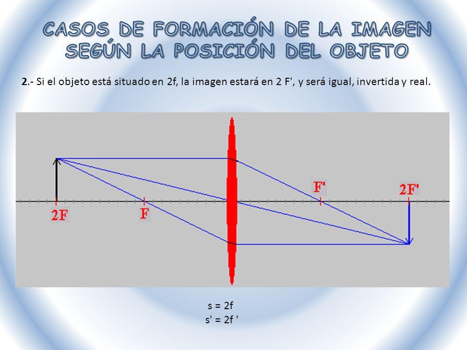 3.- Si el objeto está situado entre 2F y F, la imagen estará situada más allá de 2 F y será mayor, invertida y real.