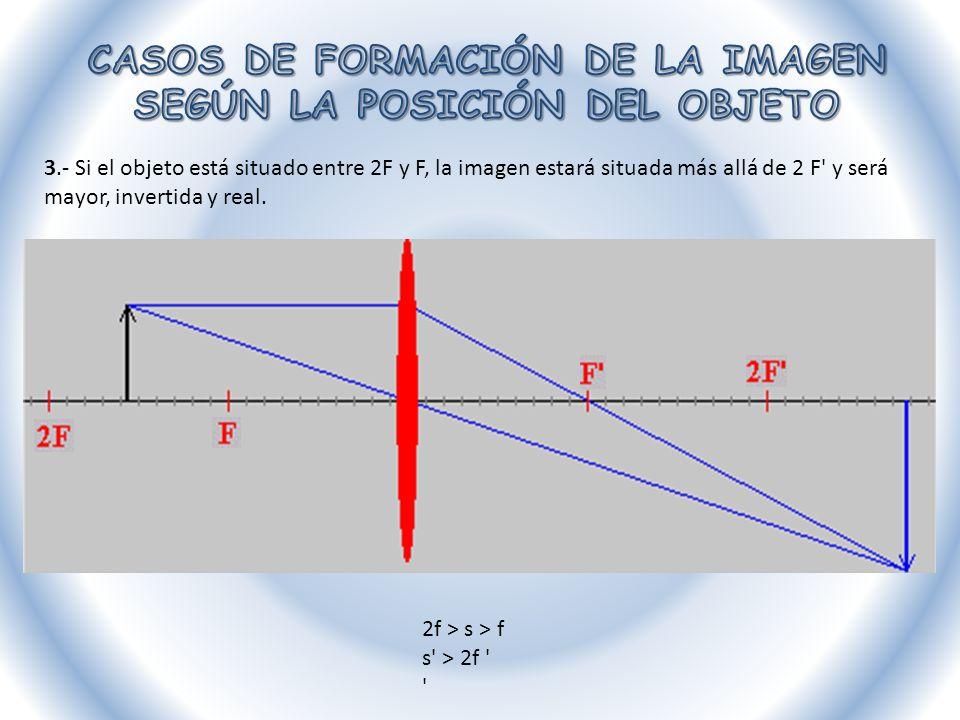 4.- Si el objeto está situado en F la imagen no se forma (se formaría en el infinito) s = f s = infinito