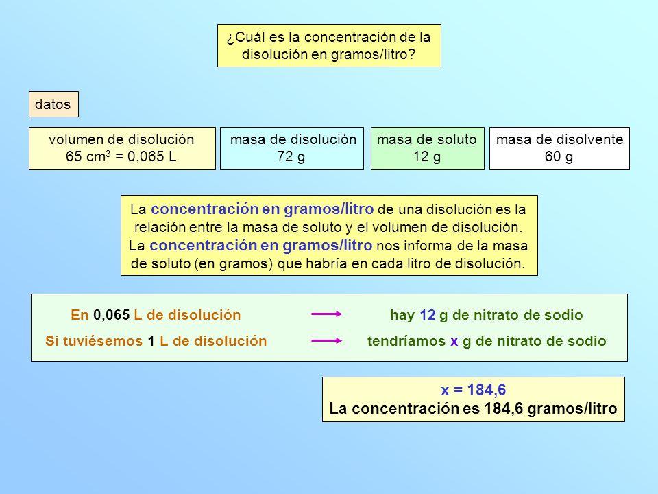 ¿Cuál es la concentración de la disolución en % en peso.