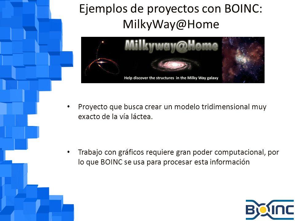 Ejemplos de proyectos con BOINC: Rosetta@Home Analiza proteínas que pueden ayudar a curar enfermedades como el SIDA, la malaria y el cáncer Se necesita gran poder computacional para predecir estructuras de proteínas, por eso usan BOINC.