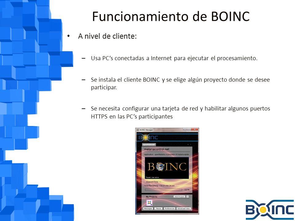 Funcionamiento de BOINC A nivel de cliente: – Se tienen preferencias: Si BOINC solo debe trabajar cuando el mouse / teclado están inactivos A que hora puede trabajar BOINC Cuanto espacio de disco se le permite usar a BOINC Cuanto ancho de banda puede usar BOINC