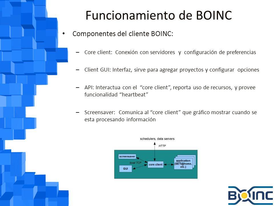 Funcionamiento de BOINC A nivel de administrador de un proyecto: – Un servidor central distribuye una serie de tareas a los miembros de un proyecto – Cada proyecto debe tener sus propios servidores que almacenen los resultados – El servidor debe por lo general tiene instalado Linux, Apache, PHP, MySQL y Phyton