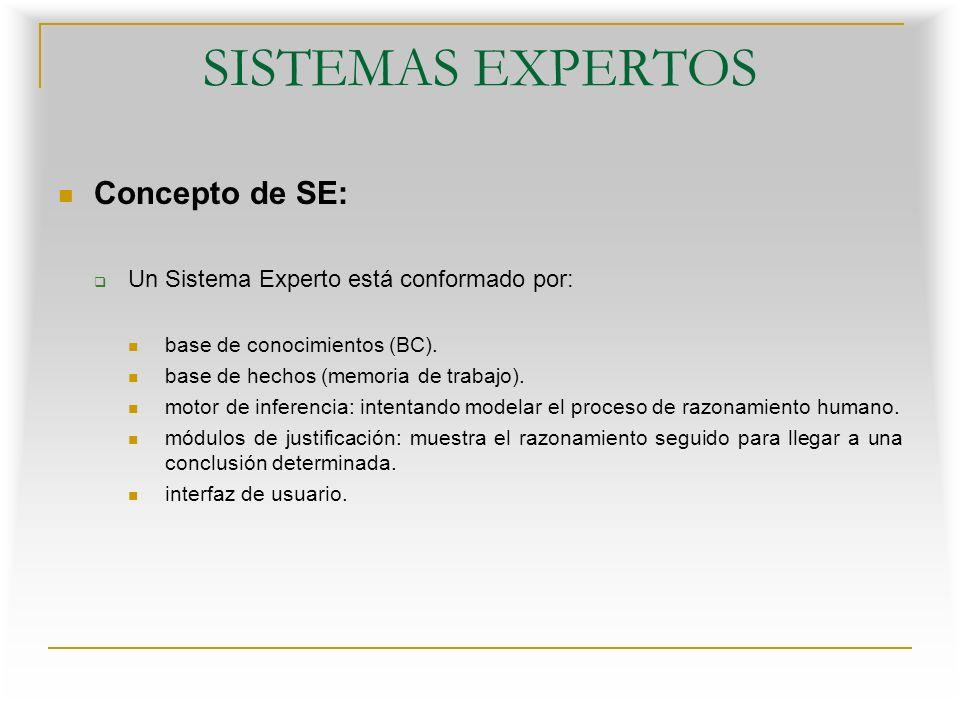 SISTEMAS EXPERTOS Concepto de SE: Base de conocimientos (BC): Es la parte del sistema experto que contiene el conocimiento sobre el dominio.