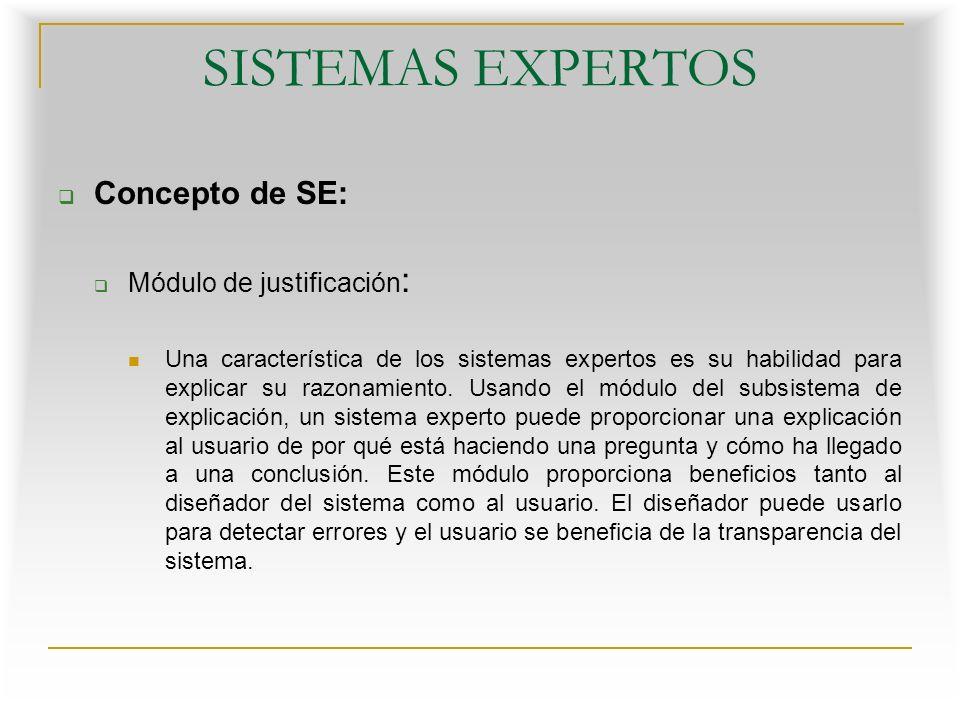 SISTEMAS EXPERTOS Concepto de SE: Interfaz de usuario : La interacción entre un sistema experto y un usuario se realiza en lenguaje natural.