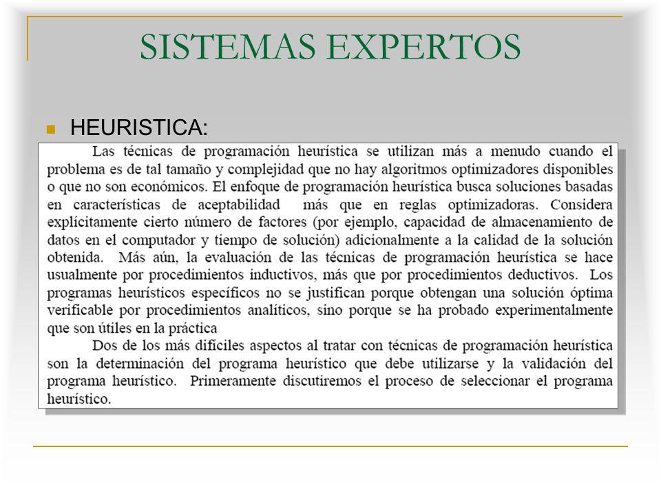 SISTEMAS EXPERTOS HEURISTICA: Se denomina heurística a la capacidad de un sistema para realizar de forma inmediata innovaciones positivas para sus fines.