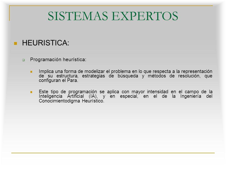 SISTEMAS EXPERTOS HEURISTICA: Programación heurística: La Programación Heurística se presenta y utiliza desde diferentes puntos de vista: Como técnica de búsqueda para la obtención de metas en problemas no algorítmicos, o con algoritmos que generan explosión combinatoria Como un método aproximado de resolución de problemas utilizando funciones de evaluación de tipo heurístico Como método de poda para estrategias de programas que juegan, aunque estos métodos no son realmente heurísticos
