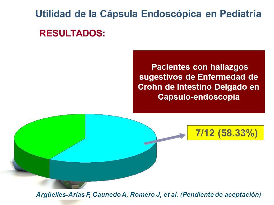 Utilidad de la Cápsula Endoscópica en Pediatría RESULTADOS: Los 7 pacientes con hallazgos capsulo- endoscópicos sugestivos de enfermedad de Crohn presentaron óptima respuesta clínica y analítica a tratamiento con Mesalazina y Prednisona.
