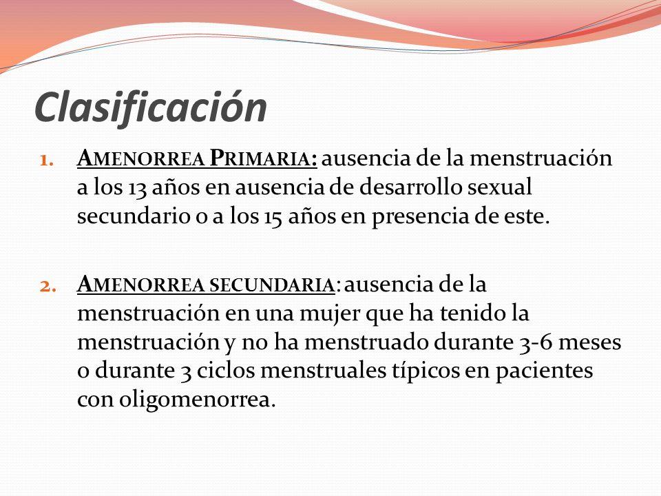 Clasificación Que sea primaria o secundaria no tiene ninguna relación con la gravedad del trastorno o el pronóstico para el restablecimiento de la ovulación cíclica.