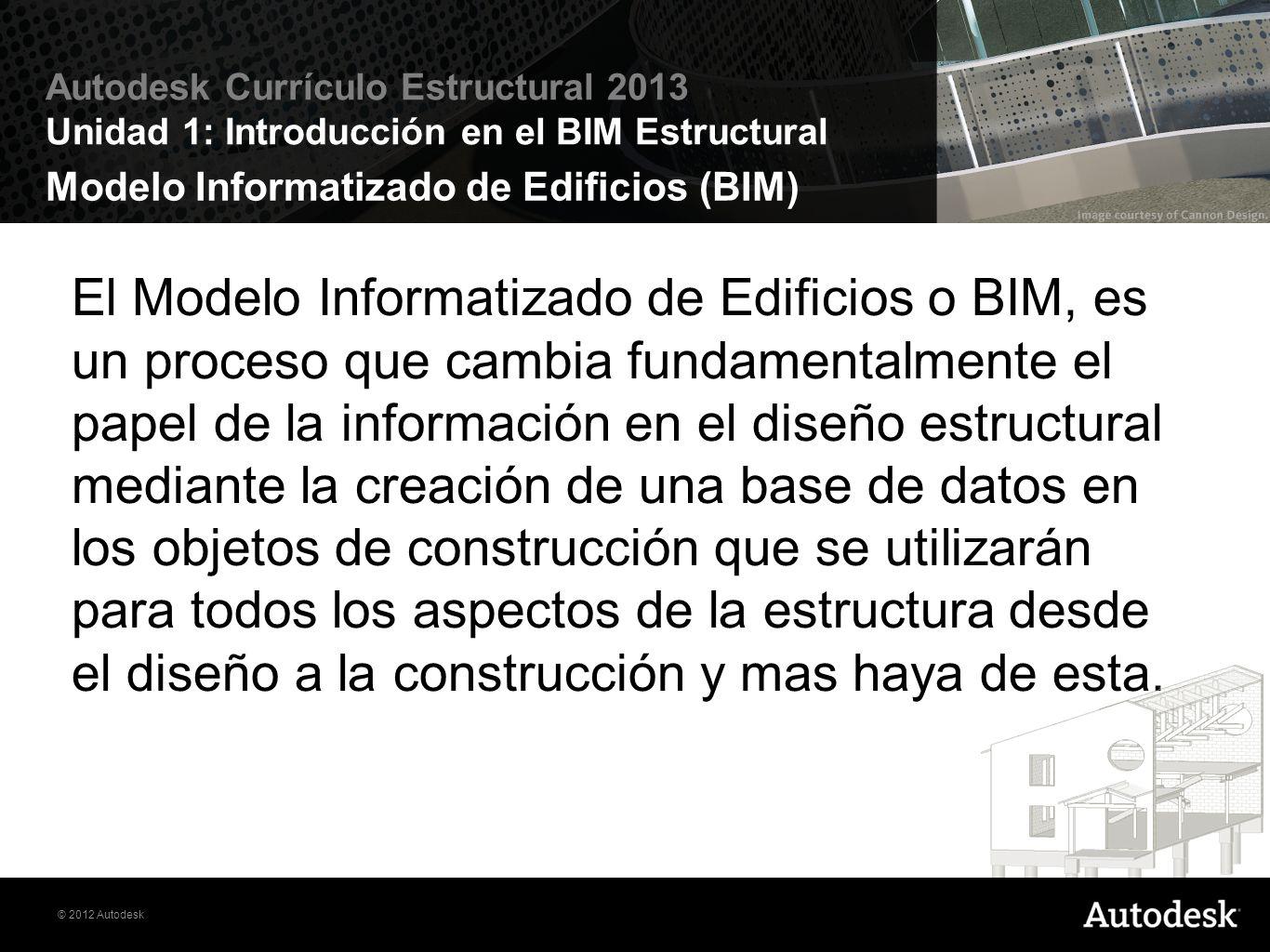 © 2012 Autodesk Autodesk Currículo Estructural 2013 Unidad 1: Introducción en el BIM Estructural Diferencias entre Dibujo Manual, CAD, BIM Figure 1.1.