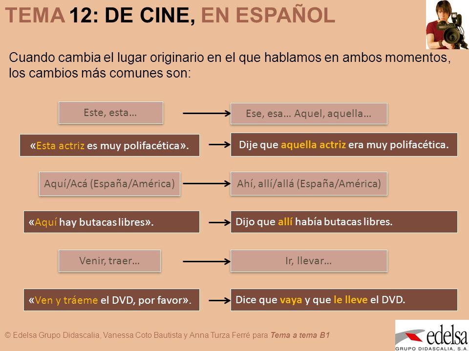 © Edelsa Grupo Didascalia, Vanessa Coto Bautista y Anna Turza Ferré para Tema a tema B1 TEMA 12: DE CINE, EN ESPAÑOL Con respecto al tiempo, puede ocurrir que: a.