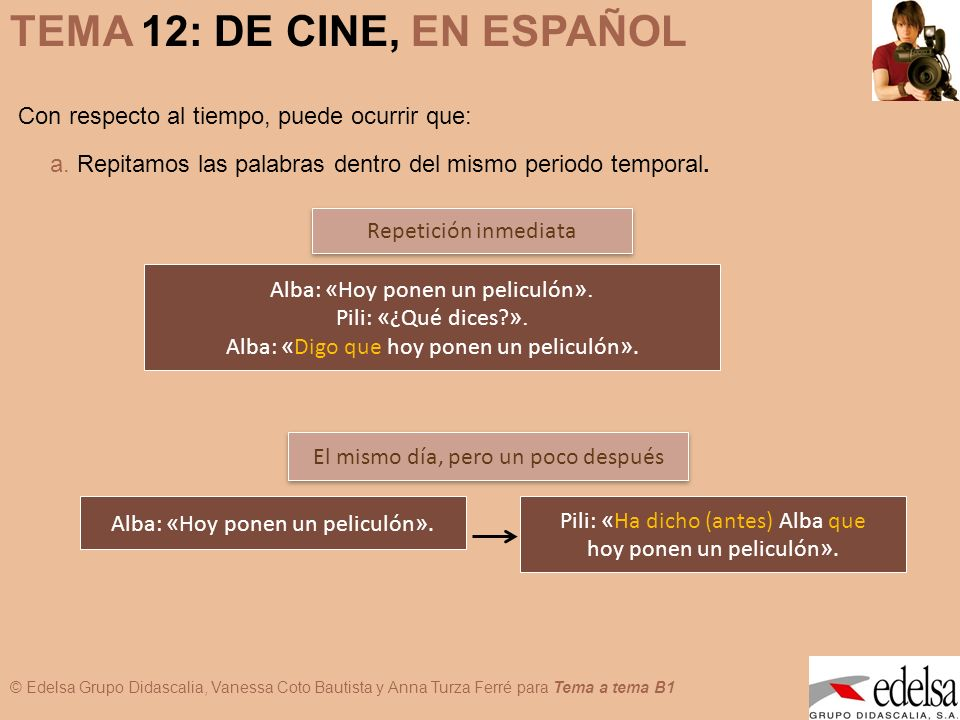 © Edelsa Grupo Didascalia, Vanessa Coto Bautista y Anna Turza Ferré para Tema a tema B1 TEMA 12: DE CINE, EN ESPAÑOL b.