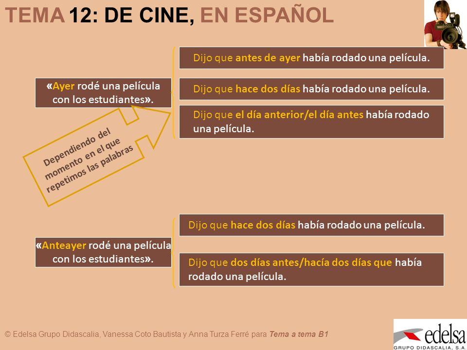 © Edelsa Grupo Didascalia, Vanessa Coto Bautista y Anna Turza Ferré para Tema a tema B1 TEMA 12: DE CINE, EN ESPAÑOL D e p e n d i e n d o d e l m o m e n t o e n e l q u e r e p e t i m o s l a s p a l a b r a s « Ahora estoy estudiando cine ».