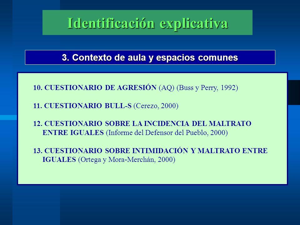 Identificación explicativa 3.Contexto de aula y espacios comunes 14.