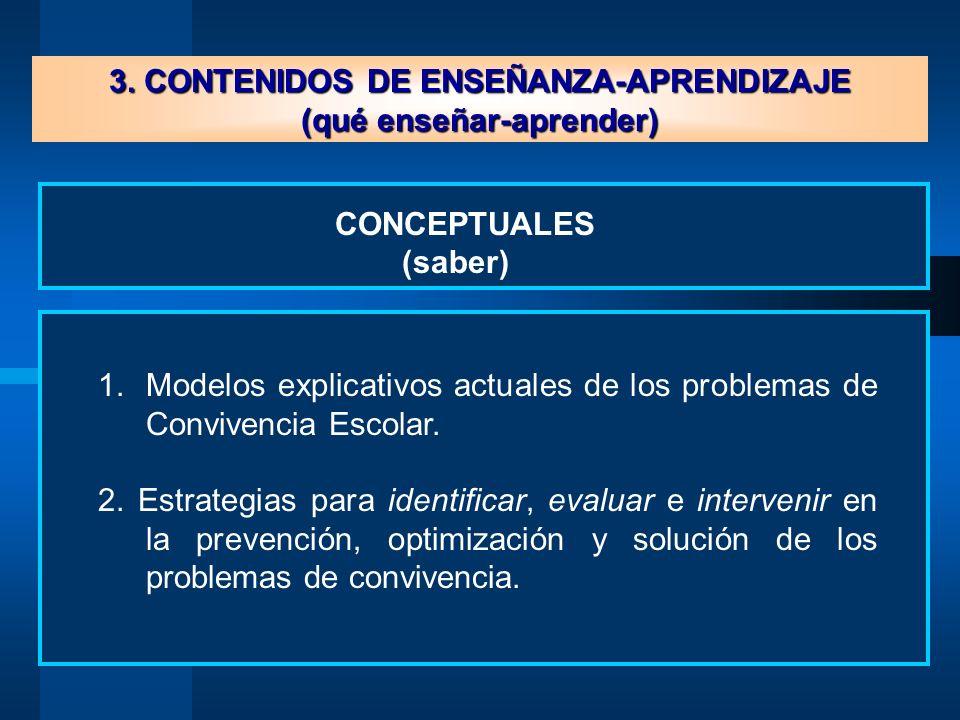 3.CONTENIDOS DE ENSEÑANZA-APRENDIZAJE (qué enseñar-aprender) 1.