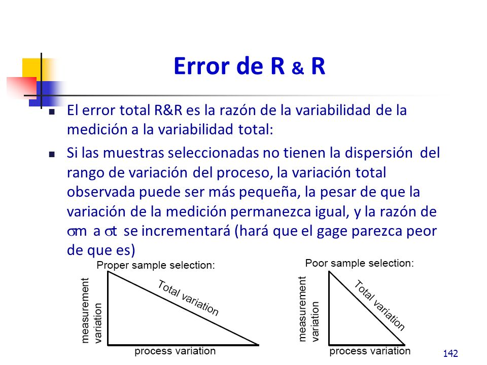 Error de R & R - Selección de muestra 143 Selección adecuada de la muestra Selección de la muestra con poco rango Selección de la muestra con mucho rango