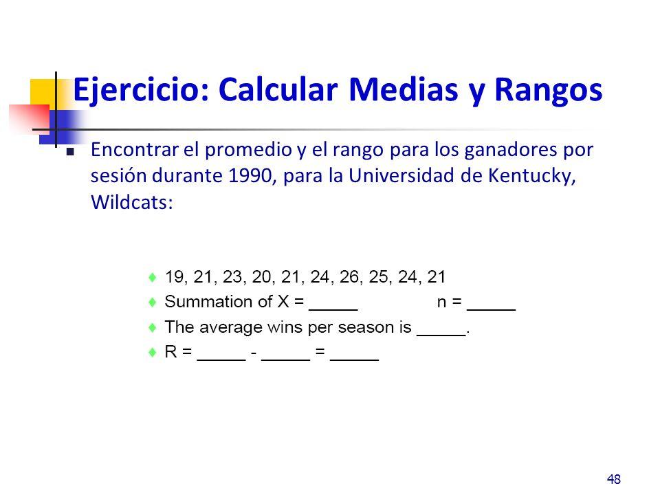 Ejercicio: Desviación Estándar De las siguientes muestras calcular la desviación estándar 49