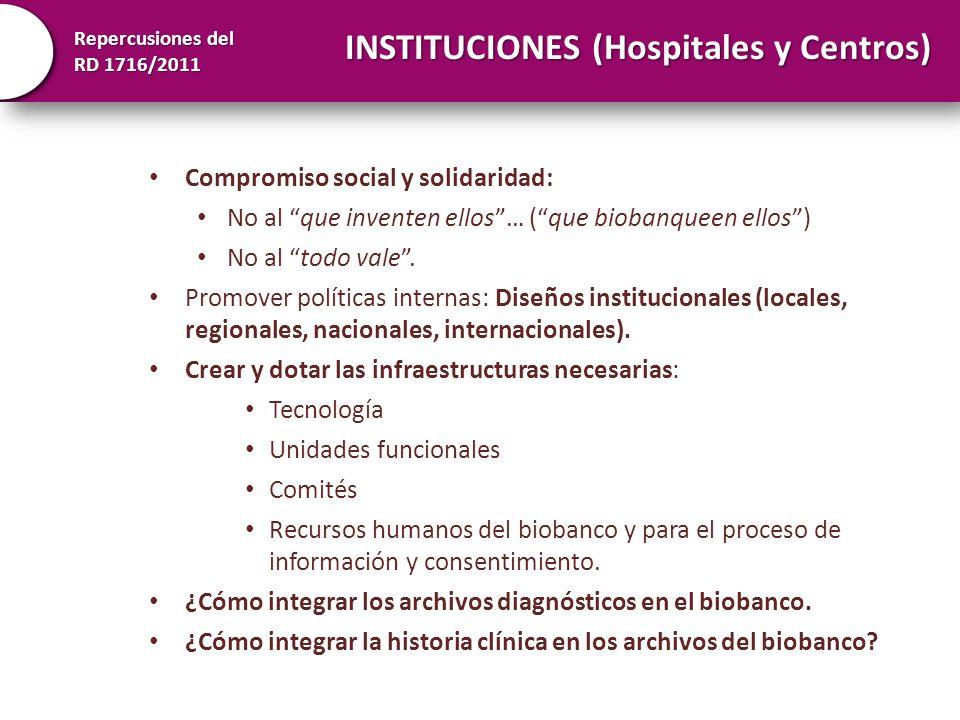 Repercusiones del RD 1716/2011 INSTITUCIONES (Hospitales y Centros) Las muestras sin datos poseen un valor muy reducido en investigación