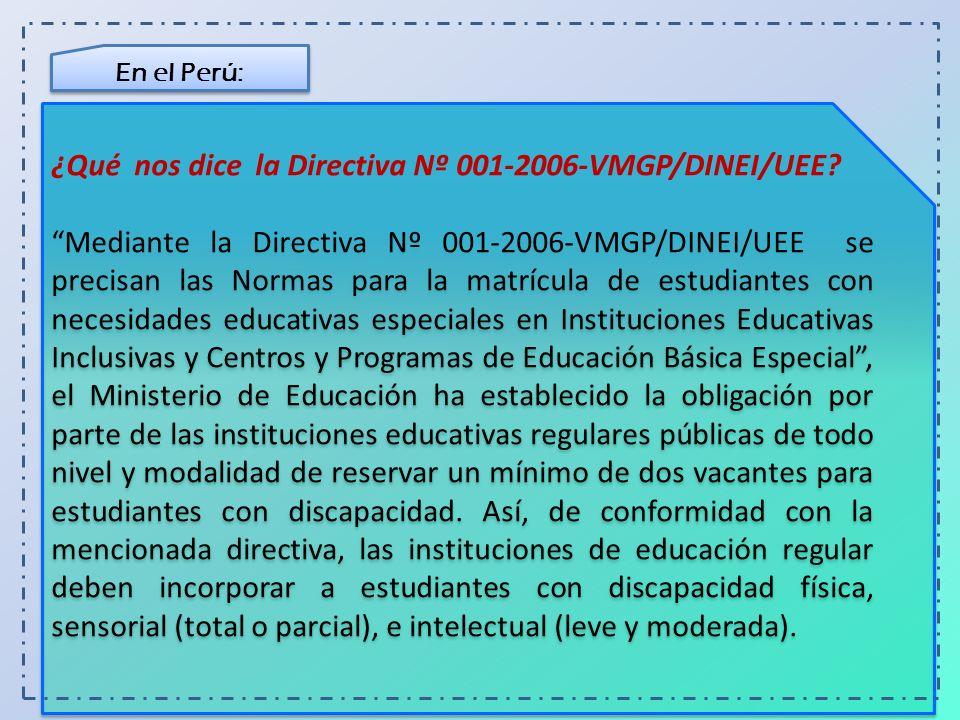 En el Perú: Además, las instituciones de educación básica alternativa (EBA), destinadas a estudiantes que no tuvieron acceso a la educación básica regular, y las de educación técnico-productiva (ETP) orientadas a la adquisición de competencias laborales y empresariales, también están obligadas a recibir dichos estudiantes.