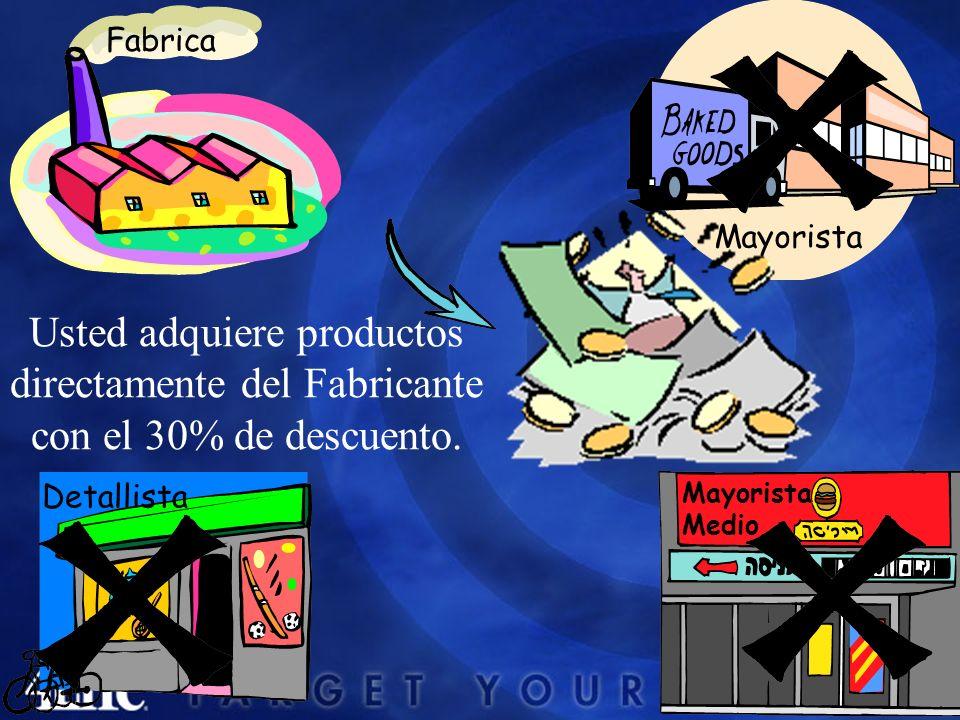 Mayorista Medio Detallista Usted adquiere productos directamente del Fabricante con el 30% de descuento.