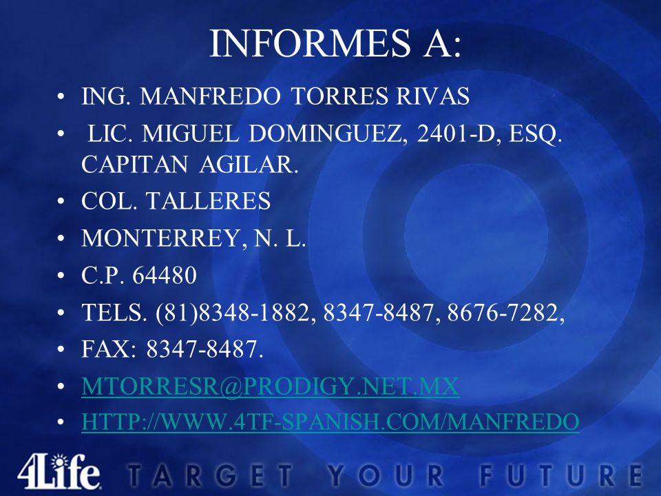 INFORMES A: ING.MANFREDO TORRES RIVAS LIC. MIGUEL DOMINGUEZ, 2401-D, ESQ.