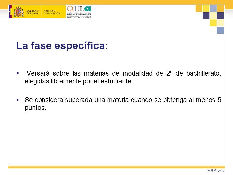 Superación de la prueba La calificación de la fase general, será la media aritmética de todos los ejercicios.