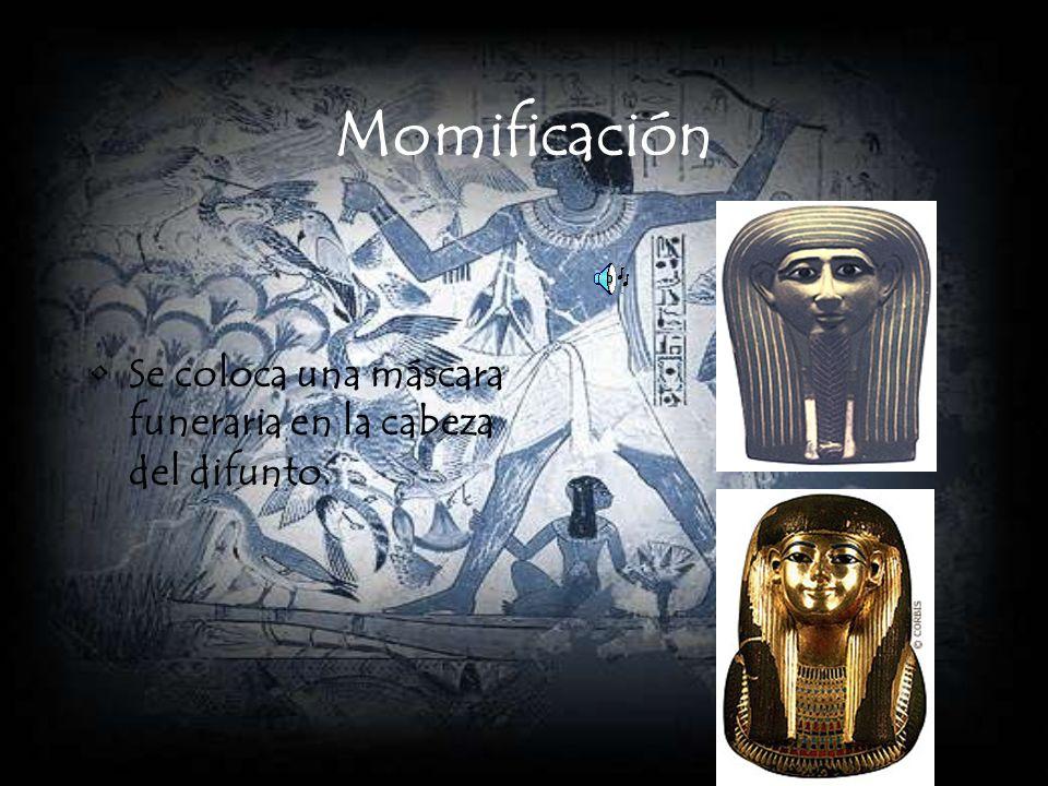 Momificación El cuerpo es depositado en su sarcófago.