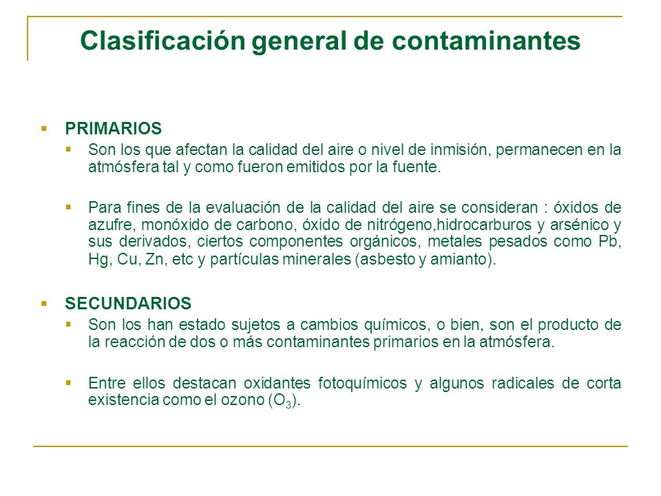 Clases de contaminantes