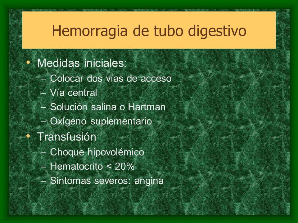 Evaluación diagnóstica Evaluación clínica Endoscopía –Diagnóstica y terapéutica –Pronóstico Angiografía mesentérica Gamagrama coneritoricitos marcados Hemorragia de tubo digestivo