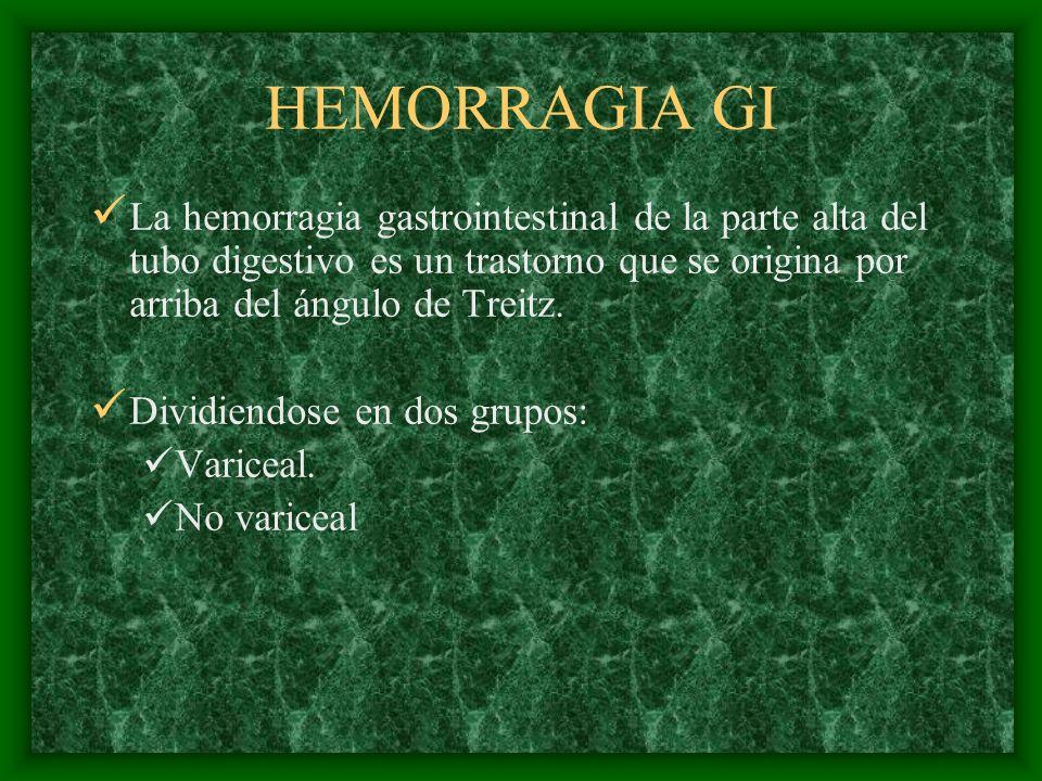 HEMORRAGIA GI Causas de hemorragía GI masiva: Originada en la parte alta del tubo digestivo Enf ulcerosa páptica 50% (duodenal, gástrica, de los estomas) Gastritis (inducida por AINES, estrés o quimioterapia) Varices (esofágicas, gástricas, duodenales) Gastropatía portal Desgarro de Mallory-Weiss Esofagitis y úlceras esofágicas (RGE, infecciones, inducida por comprimidos, escleoterapia, inducida por radiaciones) Neoplasias Ectasis vasculares y aangiodisplasias Estómago en sandia Fístula aortointestinal Hematobilia Jugo pancreático sanguinolento Erosión de Dieulafoy