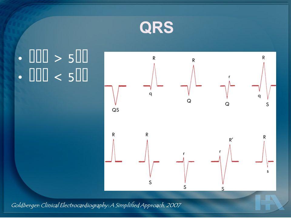 QRS Onda QS : Cuando el complejo QRS posee una deflexión negativa monofásica Onda RR : Cuando el complejo QRS es todo positivo y mellado Onda R : Deflexión positiva después de la onda S Onda S : Deflexión negativa después de la Onda R Goldberger: Clinical Electrocardiography: A Simplified Approach, 2007