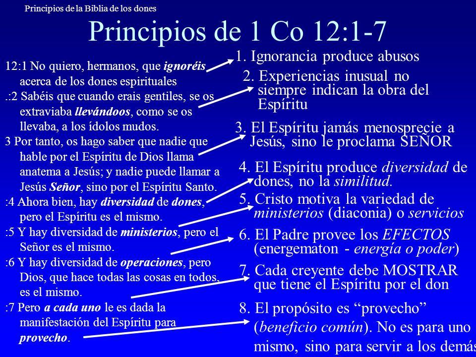 Principios de la Biblia de los dones La obra de Dios en DIVERSIDAD Espíritu Santo Señor Jesús Padre Diversidad en la cantidad de dones Diversidad en la manera de utilizar cada don Operaciones Resultados Ministerios Dones Diversidad en la extensión del resultado de cada don