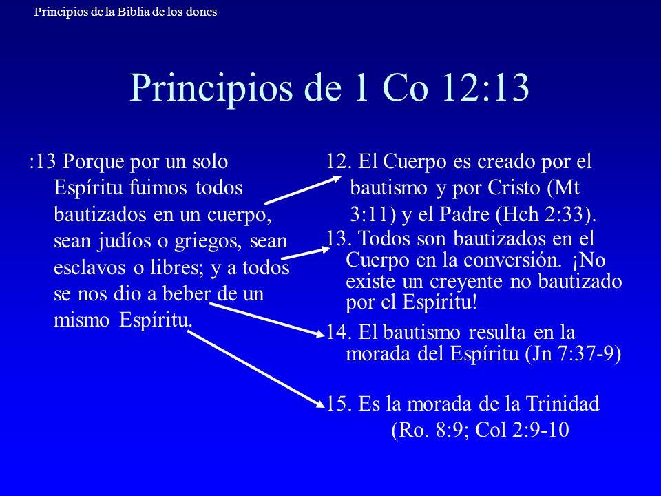 Principios de la Biblia de los dones Principios de 1 Co 12:14-20 12:14 Además, el cuerpo no es un solo miembro, sino muchos.