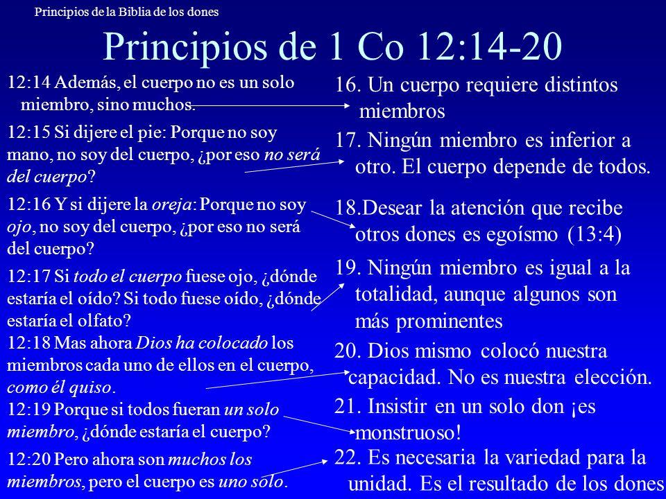 Principios de la Biblia de los dones Principios de 1 Co 12:21-24 12:21 Ni el ojo puede decir a la mano: No te necesito, ni tampoco la cabeza a los pies: No tengo necesidad de vosotros.