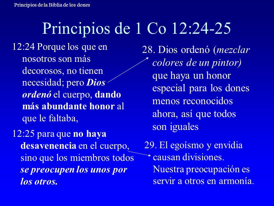 Principios de la Biblia de los dones Principios de 1 Co 12:26-27 12:26 De manera que si un miembro padece, todos los miembros se duelen con él, y si un miembro recibe honra, todos los miembros con él se gozan.